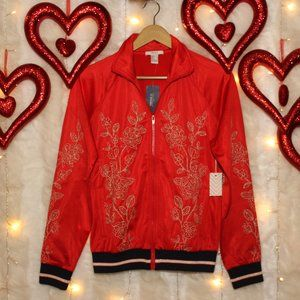 F21 Red Athletic Jacket w/ gold floral embroidery